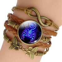 Charm Bracelet 12 Zodiac Sign Woven Leather Aquarius Pisces Aries Taurus Constellation Jewelry Birthday