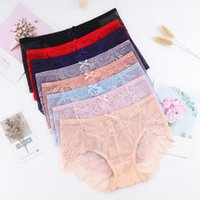 Women's Panties Ultra-thin High Stretch Lace Mesh Women Mid Waist Underwears Sexy Transparent Solid Girl Female Lingerie Ladies Briefs