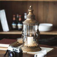 Kerzenhalter Retro Laterne Glas Kerzenständer Eisen Tragbare Metall Vintage Weihnachtshalter Lampe Hof Hochzeit Dekoration C6H