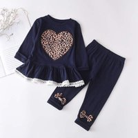 Clothing Sets Spring Autumn Clothes 2PCS Suit Born Baby Girls 2-6Y Leopard Print Lace Long-Sleeved Love Tops Trousers Pants