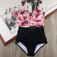 Melphieer Yüksek Bel Bikini Seti Biquini Artı Boyutu Mayo Kadınlar 3XL Baskı Mayo Bandaj Banyo Yüzme Suit Bikinis T200324
