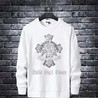 DesignerFashion Brand Ins Crosin Hoodless Men's Autumn and Winter Thick Round Neck Long Sleeve T-shirt Loose Iron Drill Pullover CoatBalencaiga