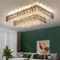 Роскошный прямоугольник для дымных серых K9 Crystal потолочные светильники современные большие люстры Освещение подвесные светильники с E14 светодиодная лампочка для гостиной Foyer Restaurant Hotel