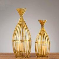 크리 에이 티브 단 철 촛대 홈 장식 액세서리 금속 캔들 홀더 현대 테이블 웨딩 장식 촛불