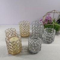 Titulares de vela Titular de cristal Prata / Ouro Castiçal Lanterna Centerpieces Candelabros de mesa para decoração de festa em casa