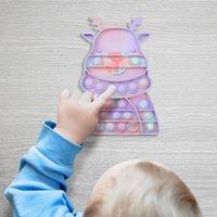 Vent Toy Christmas Novelty Push Bubble Simple Dimple Sensory Autism Xmas Fidget Toys For Children Adults Fingertip Desktop Game Toys Macaron Animal