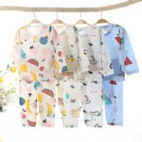 Pajamas Children Cartoon Print Outfits Baby Boy Toddler Girls Christmas Set For Kids Thin Long Sleeve T-shirts Pants Suit 2021