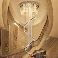 Chandeliers de techo de cristal de alta gama K9 Crystal Spin Forma moderna LED LED iluminación Lámparas pendientes para escaleras dúplex Villa Hall Hall