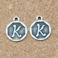 "Antik Gümüş ""K"" Alfabe İlk alaşım Charms Kolye Moda Takı DIY 14.8x28.2 MM 100 adet / grup A-395"
