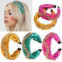 NOUVEAU Mode Couleur lumineuse Satin Court de cheveux avec chaîne en or Bandeau de Turban de luxe Turban pour femmes Accessoires de bande de cheveux
