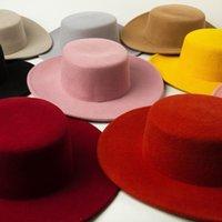 حافة واسعة القبعات 100٪ الصوف جودة عالية المألوف بوهو شيك كاليفورنيا نمط boater شقة أعلى قبعة