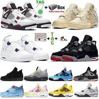 2021 Chaussures de basket-ball de haute qualité Université Bleu Bred Jumpman 4 4S Mens Sports Sneakers Black Cat Métallique Femmes Violet Femmes Airs Trainer Retro