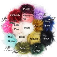 Furling Diy 12pcs Faux Raccoon Fur 11cm Fluffy Pom Ball for Hat Beanie Accessories Women Keychain Hand Bag Charms H0915
