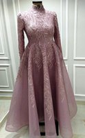 2021 Plus Size Arabic Aso Ebi Muslim Luxurious Lace Prom Dresses High Neck Beaded A-line Evening Formal Party Second Reception Gowns Dress ZJ550