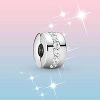 Perline 925 sterling clear cz row clip charm fit originale Pandora charms bracciale gioielli in argento fai da te