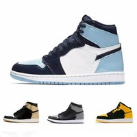 2021 NK Zapatos de baloncesto Joe 1 Femenino Casual Corrector Transpiración ABSORTE ABSORTE DE CUERDIO OBSIDIANDO Sneakers High-Top Men's Retro CD0461-104