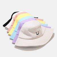 Вышивка улыбка лица выражение ведра ковш шляпа женщин хлопок летняя мужская панамская шапка капелуш Рыбка рыбка шляпа Gorro Pescador q0805