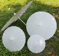 40cm Diâmetro China Japão Guarda-chuva Tradicional Parasol Quadro de Bambu Handle Wedding Parasols Guarda-sóis Artificiais Branco