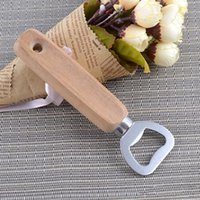 Stainless Steel Beer Openers Practical Wooden Handle Bottle Opener For Bar Wedding Party Favors Soda Bottles Opening Tools Portable