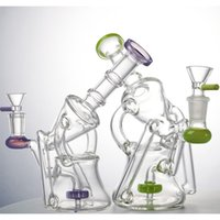 Recycler Hookahs Milky Green Purple Glass Bong Showerhead Perc Sidecar Water Pipes 4mm Thick Oil Dab Rigs 14mm Female Joint With Bowl