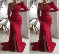 Red Evening Dresses with Long Sleeves 2022 Scoop Neck Luxury Beaded High Split Custom Made Plus Size Prom Party Gown vestidos Ruched Crystals Formal Occasion Wear