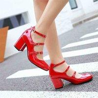 큰 크기 봄 여성 펌프 두꺼운 블록 하이힐 특허 가죽 라운드 발가락 가을 사무실 드레스 파티 신부 레드 레이디 신발 34-43 210610