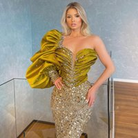 Giltter Olive Mermaid Evening Dresses One Shoulder Crystal Sequin Ruched Long Sleeve Women Prom Gowns Custom Made Dinner Dress