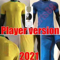 2021 Versione da uomo Giocatore in jersey di calcio Paqueta Neres Coutinho Camicia da calcio Firmino Gesù Brasile Marcelo Pele Brasile Maillot de Piede