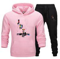 2021 abbigliamento casual abbigliamento maschile pullover maglione designer uomini tuta con cappuccio con cappuccio due pezzi + pantaloni camicie sportive caduta inverno track vestito nero