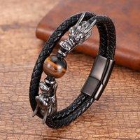 Braceletes de aço inoxidável de luxo para homens redondos de tigre olho natural de pedra dragão forma de metal pulgula presentes para o ano novo
