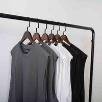 Black white gray Drop Shoulder Tank Top Men Streetwear punk Hip Hop Vest Sleeveless Funny Oversize Tee Shirt undershirt