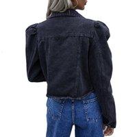 Sexy Slim Jacket Fashion Denim Jackets Women Crop Top Puff Sleeve Short Tops Ladies Casual Denim Coat Party Club Winter Clothes