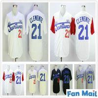 Toptan Erkekler Santurce Crabbers Puerto Riko Roberto Clemente Jersey 21 Ucuz Siyah Beyaz Gri Dikişli Kolej Beyzbol Gömlek