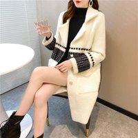 Miscele di lana da donna Autunno e inverno plaid imitazione visone velluto Cappotto a mezza lunghezza, giacca da donna ad ispessimento per adulti moda