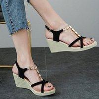 Femmes Open Toe Sandales 2020 Summer Respirant Coins Chaussures Epais Bohême Bohême Style Chaussures Sandales Roman Barreau Barrette Barrette # G4 J1WN #
