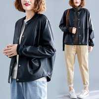 Women's Leather & Faux Simple Short Coat 2021 Korean Loose Large Size Handsome PU Jacket Spring Mujer Chaqueta Cuero F2890
