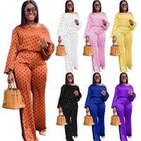 Women's Two Piece Pants Plus Size S--4XL Women Pieces Sets 2021 Fashion Dot Print Slash Neck Long Sleeves Loose Wide Leg Jogger Outfits