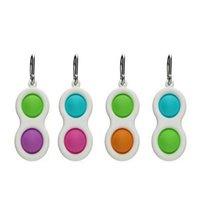 Push Bubble simple dimple Key Ring Fidget Pop Toys Keychain Kids Adult Novel Squeeze Bubbles Puzzle Finger Fun Game Fidgets Toy Stress Relief