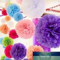 10pcs 4 pouces 10cm Papier de tissu coloré Pom Pomes Pomes Boules de fleurs de mariage Fournitures d'anniversaire de mariage Fournitures de la maison extérieure