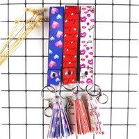 Deri Anahtarlık Püskül Yaratıcı Güzel Anahtarlık Çanta Kolye Moda Ekose Çiçek Baskı Anahtarlık Çok Renkli Moda Tasarımcıları 2358 Y2