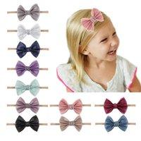 Girls Hair Accessories Bows Baby Headbands Newborn Infant Nylon Head Bands Elastic Decorated B8878