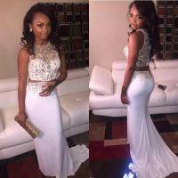 2022 White Two Piece Prom Dresses Jewel Neck Chiffon Beaded Custom Made Sweep Train Sleeveless Graduation Party Ball Gown Evening Formal Wear vestidos