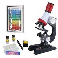 Microscópio Kit Laboratório LED 100x-400X-1200X Home Escola Educacional Ciência Brinquedos Atacado Presente Refinado Biológico Para Crianças Criança