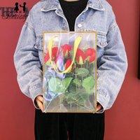 بائع الزهور زهرة حزمة حقيبة واضح pvc زهرة باقة حقيبة كيس مع مقبض عيد الحب عيد ميلاد عيد ميلاد هدية حزمة الحقيبة GGA4158