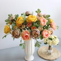 الزخرفية الزهور أكاليل 2 كبير وردة الوردي الحرير الفاوانيا وهمية زهرة فرع المنزل الديكور رئيس صغير برعم خلفية الزفاف جدار