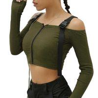 Mulheres camiseta Designers moda primavera rua pulôver manga longa um pescoço magro ajuste tees pólos leggings e vestidos