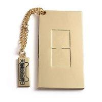 Moda portatile metallo singolo specchio cosmetico specchio di fascia alta marca portatile specchio quadrato mini regalo specchio tascabile