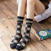 Socks & Hosiery Women 2021 Plaid Autumn Winter Combed Cotton Middle Tube Casual Comfortable Girl Cute Korea Style Crew