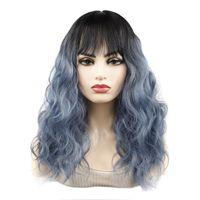 Perucas sintéticas jeendou onda de água médio cabelo cabelo franja preto escuro ombre cor diariamente usar peruca mulher