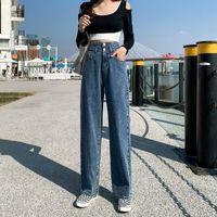 Guuzyuviz Wide Gamba Gamba Dritto Jeans Donna High Waist Denim Pants Donne Allentato Casual Albicocca Blue Jeans VAQUEROS DE MUJER